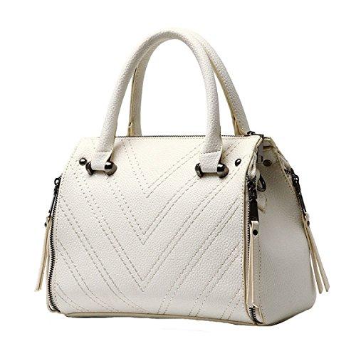 Damen Retro Mode Handtasche Große Kapazität Niet Reißverschluss Messenger Bag White