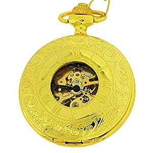 Boxx Mechanical Wind-Up Gold Tone Gents Skeleton Pocket Watch on 12 Inch Chain