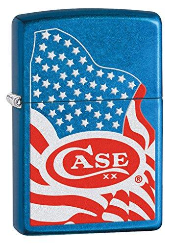 CASE XX USA Flag Cerulean Blue Chrome Zippo Windproof Lighter
