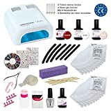 KIT MEANAIL DELUXE XXL - Kit ultra completo con 30 Accesorios - Lampara UV seca uñas profesional 36W + 30 Accessorios NAIL ART - Normas CE