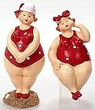 Schick-Design 2 Badenixen - Rot - Stehend und sitzend 10 cm im Badeanzug mit Kopftuch Mädchen Rubensfrau Mollige Dame Dicke Frau Badezimmer Kantenhocker Figur