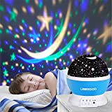 LED Projecteur Etoiles , Ubegood 360°Rotation Étoiles Projecteur LED Veilleuse Romantique Lampe de projecteur de ciel pour la maison, chambre, chambre d'enfant, anniversaire (Bleu)