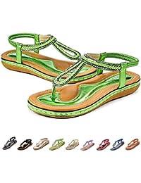 premium selection 44ec4 c5870 Camfosy Sandales Femmes Plates Été, Chaussures Nu Pieds Claquettes Tongs  Plage à Talons Plats Semelle