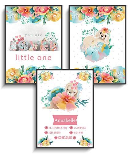 Geschenkidee Personalisiert DIN A4 Plakat 3er Set Bild Geburt Süßer Welpe ohne Rahmen Babyparty Mädchen Kind Design Blumen Tiere Modern