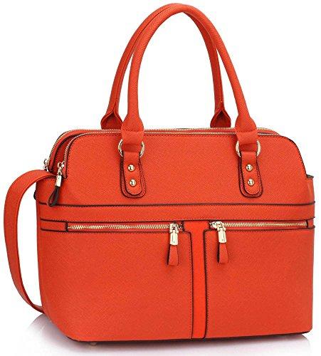 LeahWard® Damen Mode Essener Berühmtheit Tragetasche Kunstleder Handtaschen Orange