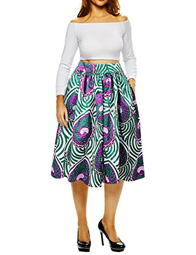 Uideazone Women Midi African Skirt High Waisted Knee Length A-Line with Pocket