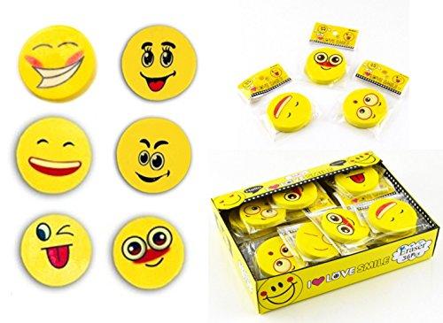 Dreams 6 x große Radiergummis als Set - Bunte Smiley Motive - Geschenk / für Schultüte Schulanfang Oder Mitgebsel für Kindergeburtstag Oder Motto Party -
