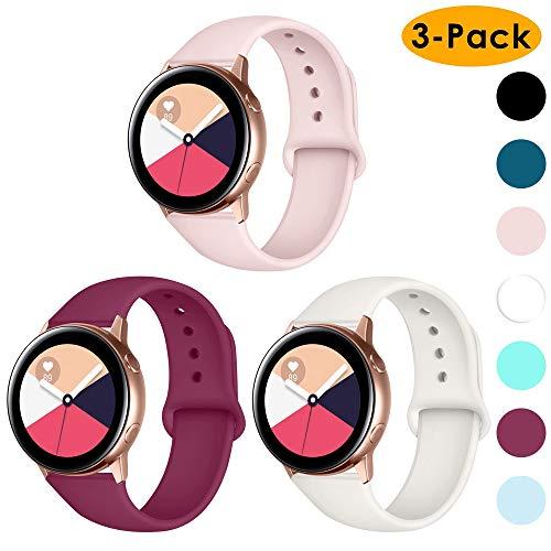 CAVN Armband kompatibel mit Samsung Galaxy Watch 42mm /Active/Garmin Vivoactive 3 Armband [3-STÜCK], 20mm Weiches Silikon Sport Armband Damen Herren für Gear Sport/Vivoactive 3/Forerunner 645, Klein