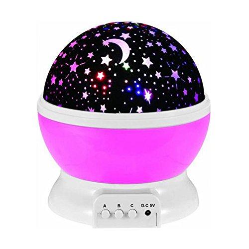 USB LED Projektion Lampe Tragbar Star und Moon Night Light 4LED Perlen Romantische drehbar Lampe Star Sky Mond Projektor für Baby-Kinderzimmer Schlafzimmer Kinder Zimmer (Assistent Für Party Supplies)
