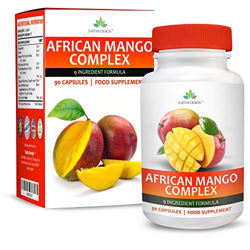 Complejo Mango Africano - Con Cetonas de Frambuesa, Capsicum, Café Verde y Glucomanano - Suplemento Máxima Concentración - Apto Vegetarianos - 90 Cápsulas (Suministro 3 Meses) de Earths Design