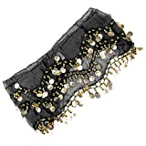 #9: Imported 1PC Belly Dance Belt Hip Scarf Wrap Belt Skirt with 128 Gold Coins - Black