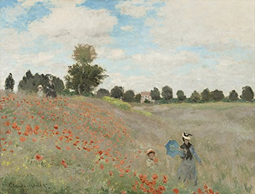 Claude Monet, Campo di papaveri vintage Stampa Fine Art, laccato carta/carta, Up to 594mm by 841mm or 23.4