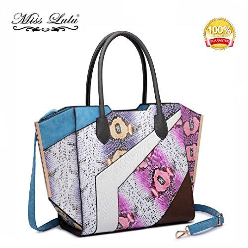 Miss LuLu Modern Damentasche Elegant Handtasche Tote Bag Groß Multifunktion (LT6637-Braun) LT6637-Blau