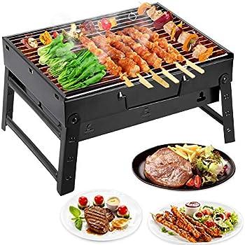 Mbuynow Grill Barbecue Carbone Griglia Barbecue per 2-4 Persone Cottura alla Brace Ottima Griglia Trasportabile per Cuocere Carne Pesce Verdure Pane Bruschettato ECC