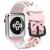 MoKo für Apple Watch 38mm Series 3/1 Armband, Silikon Replacement Uhrenarmband Sportarmband Band Erstatzband mit Schließe für Apple Watch 38mm Smartwatch, 140mm-206mm, Rosa/Mint Grün
