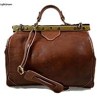 Bolso mujer de cuero doctor bag bolso doctor en piel bolso de mano bolso de espalda de cuero bandolera en piel marron claro