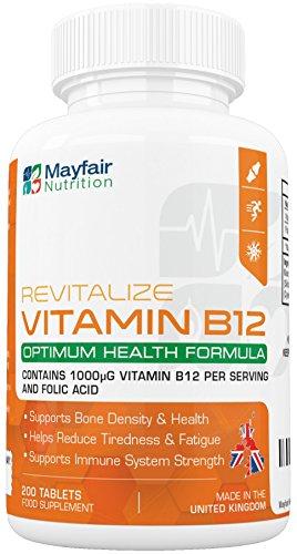 Vitamina B12 con acido folico - 200 Tavolette qualità premium 1400mcg per migliorare l'energia, la concentrazione e il sistema immunitario – Fornitura per 6 mesi.