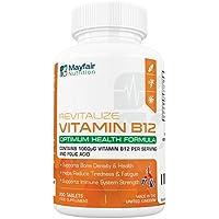 Vitamin B12 + Folsäure – 200 Hochdosierte Vegane Tabletten mit 1400mcg Wirkstoff (1000 µg B12 & 400 µg Folsäure) – Optimal für Vegetarier & Veganer gegen B12-Mangel – 6 Monats-Vorrat