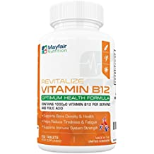 Vitamina B12 con ácido fólico | 200 comprimidos veganos premium de 1400mg para fortalecer el ánimo, la energía, la concentración y el sistema inmunitario ...