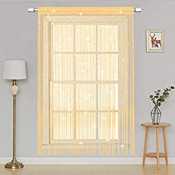 AIZESI String Door curtains Panel, Fly Screen Curtain,Doorways Divider for Window Decorative (Champagne)