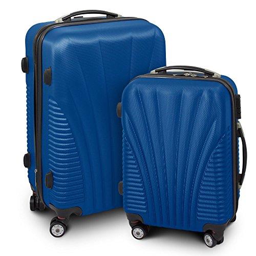 Kofferset M + L 2-teilig Reisekoffer Trolley Hartschalenkoffer ABS Teleskopgriff Modell 'Funnel' (Navy Blau)