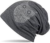 styleBREAKER Klassische Beanie Mütze mit Strass Eulen Applikation, Damen 04024039, Farbe:Dunkelgrau
