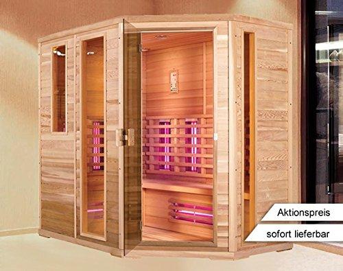 Infrarotkabine | Infrarot | Wärmekabine | Infrarotsauna | Sauna 210 x 140 I Rechts Hemlock Holz, Strahler Art:Triple Strahler