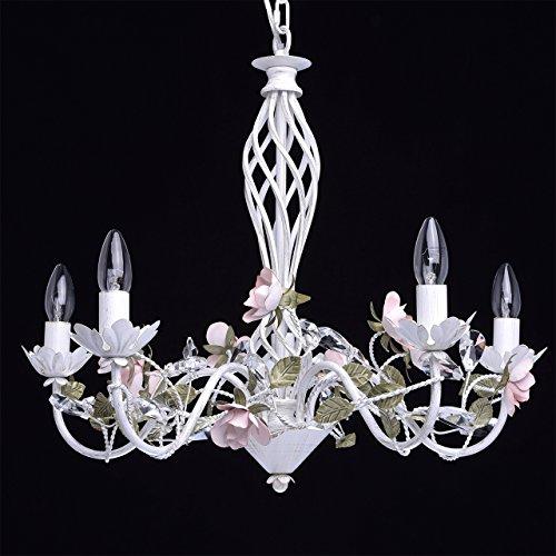 Florentiner Kronleuchter Chic-Stil Metall weiß - 3