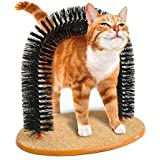 Pet Cat Self-Groomer Plastic bristles Massager Scratcher Arch Play Catnip Toy