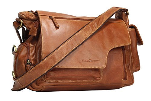 Greenburry Expedition Leder-Handtasche Ledertasche Umhängetasche - Echt Leder-Überschlagtasche - 39x28x13cm (Handtasche Braune Echte Leder)