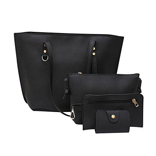 k Damen Litschi-Muster Leder Umhängetasche + Umhängetasche + Handtasche + Geldbörse (Schwarz) ()