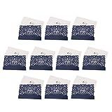 Baoblaze 10x Kraftpapier Einladungskarten Grußkarten Dankskarten Hochzeitkarten Geburtstagkarten mit Umschlag, Herz und Vogel Deko - Blau
