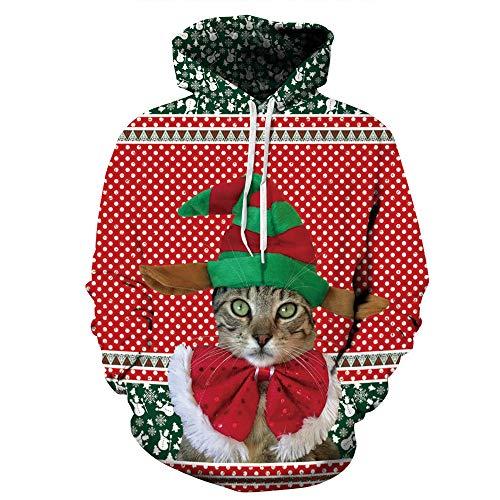 SSCJ Men and Women Hoodies 3D Dreidimensionaler Druck Loose Pullover Weihnachts-Ssweatshirt Long-Sleeved Pullover Mit Pocket S ~ XXXL,ML3,S
