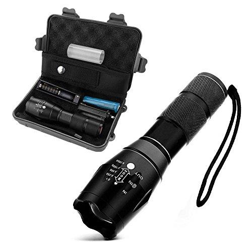 Preisvergleich Produktbild [TASCHENLAMPE BOX] - Blitzlicht Mit Einstellbarem Fokus - CREE XML-T6 4000 Lumen - LED Handlampe - Superhelle, Tragbare, Taktische Taschenlampe - Mit Taschenlampe, Box, Ladegerät, Akku und Holster - Schwarz - GadgetQounts