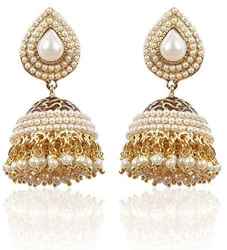 Shining Diva White Gold Plated Pearl Traditional Jhumki Earrings for Women and Girls (6822)