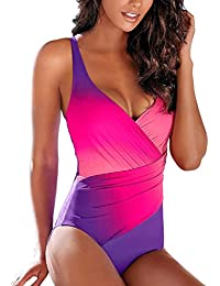 556e703c50 Aleumdr Womens Gradient Color X Back Round Neck One Piece Swimsuits Swimwear