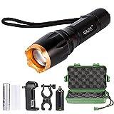 Torche Lampe de Poche LED Zoomable et Rechargeable avec 5 Modes, Super Lumineuse Intensité Ajustable(Pile rechargeable incluse) (DT56)