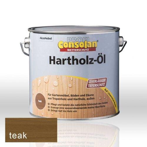 Consolan Profi Hartholzöl RM teak 2,5 Liter - Tisch Mahagoni-holz Gartenmöbel