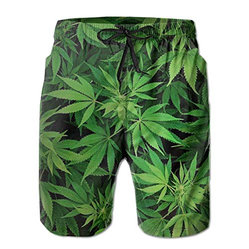 Mens Cannabis Leaf Green Weed Marihuana Badehose Kordelzug Elastische Taille Surfen Strand Board Shorts, 2XL
