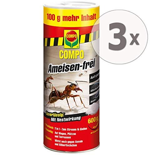 Compo Ameisen-frei Gieß- und Streumittel Gardopia Sparpakete + Zeckenzange mit Lupe (3 x 600 g)