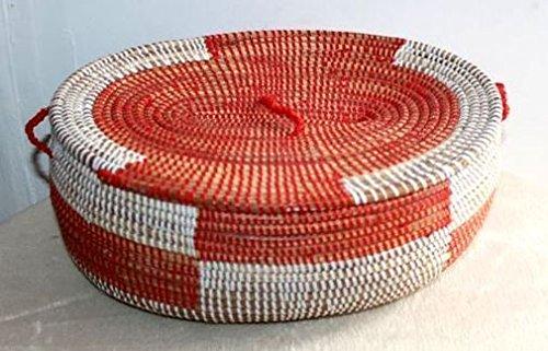 afriqueartdecoration.com AFRIQUE ART DECORATION -Grande corbeille en paille tressée 6507-S6V-1810