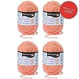 Baby Wolle apricot (Fb 1024) * 4x Baby Smiles Merino Wool Schachenmayr (je 25g) * kuschelweiche Babywolle zum Stricken – Baby Merino Wolle - Wolle für Babys 100% Schurwolle + GRATIS MyOma Label