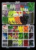 RoseFlower Kit di Esche da Pesca, 301Pcs Esche Cucchiaino Artificiale Pesca Richiamo Set per Trota, Persico, Luccio Spoon Kit- Esche da Spinning Accessori con Vermi, Esche Dure, Ganci Singolo, Insetti