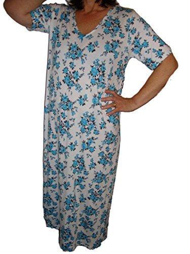 holidaysuitcase VACANCES VALISE DAMES grande taille Bouton de rose souple long longueur robe de nuit 16 à 34 UK Turquoise Rose