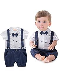 ARAUS Pagliaccatti da Neonato Bambini Tutine Completini Batessimo a Manica Corta Smoking Baptism Formale Suit Estivo (0-4 Anni)