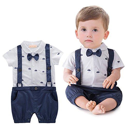 ARAUS Bebé Traje Caballero Camisa Mono de Manga Corta Estampada de Bote Pelele Conjuntos Pantalones de Peto Para Niños infantil Verano, 0-18 Meses
