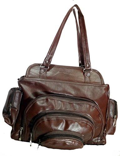 Jovial Premium multi pocket fancy Brown Ladies Handbag-JBH105(i)  available at amazon for Rs.275