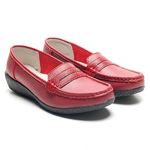 Damen Keilabsatz Print Halbschuhe Slipper Mokassin Loafer Damen Freizeit Schuhe Rot