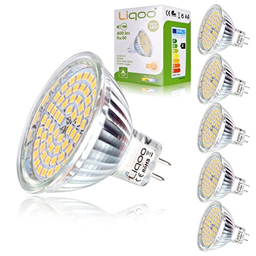 Liqoo 6er MR16 GU5,3 LED Lampe 5W Warmweiß 2800K Ra 80 hohe...