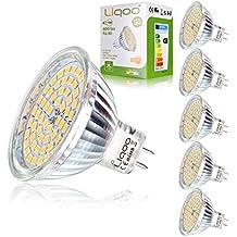 Liqoo® 6 x 5W MR16 12V Bombilla LED GU5.3 GX5.3 Blanco Cálido 2800K Hay que Conectar Transformador de AC DC 12V Lámpara Bajo Consumo Sustituye Halógena 35W